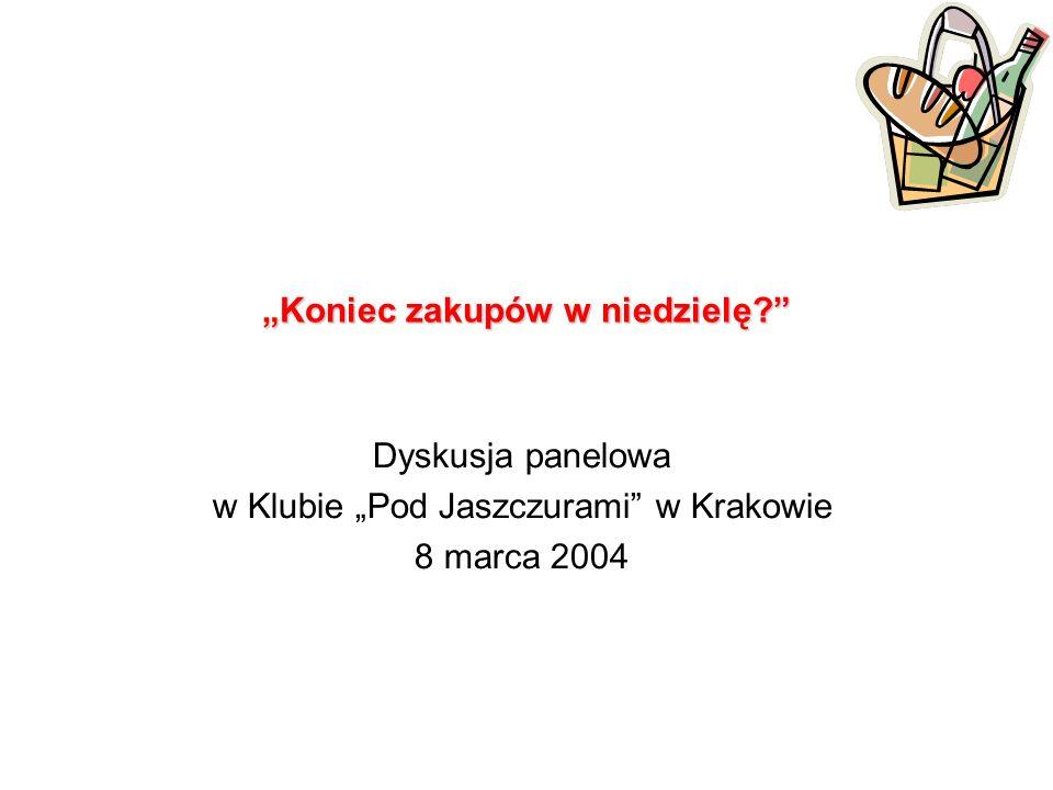 Koniec zakupów w niedzielę Dyskusja panelowa w Klubie Pod Jaszczurami w Krakowie 8 marca 2004