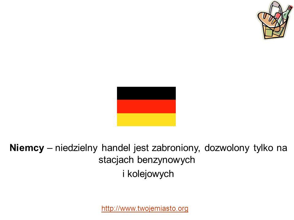 Niemcy – niedzielny handel jest zabroniony, dozwolony tylko na stacjach benzynowych i kolejowych http://www.twojemiasto.org