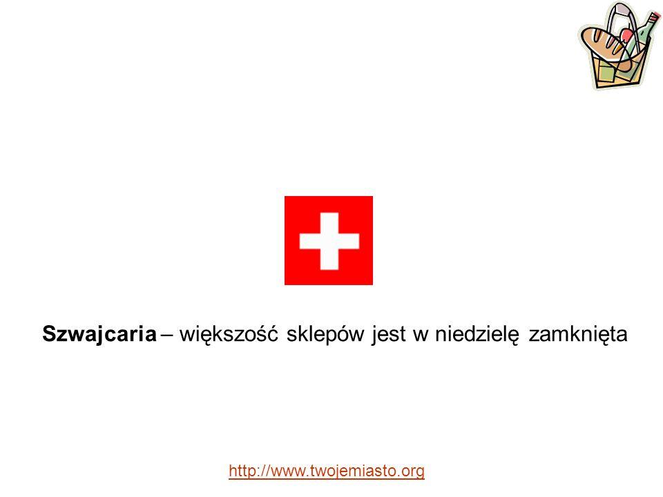 Szwajcaria – większość sklepów jest w niedzielę zamknięta http://www.twojemiasto.org