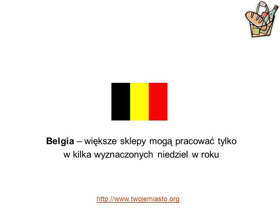 Belgia – większe sklepy mogą pracować tylko w kilka wyznaczonych niedziel w roku http://www.twojemiasto.org