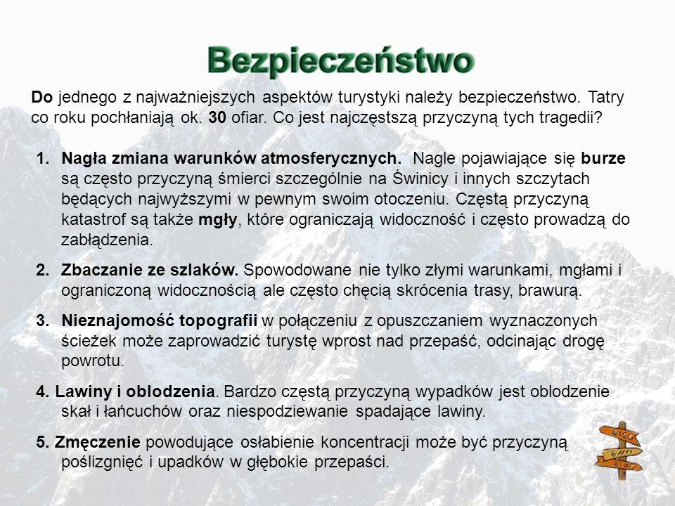Do jednego z najważniejszych aspektów turystyki należy bezpieczeństwo. Tatry co roku pochłaniają ok. 30 ofiar. Co jest najczęstszą przyczyną tych trag