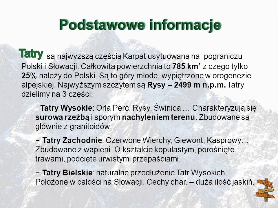 są najwyższą częścią Karpat usytuowaną na pograniczu Polski i Słowacji. Całkowita powierzchnia to 785 km z czego tylko 25% należy do Polski. Są to gór