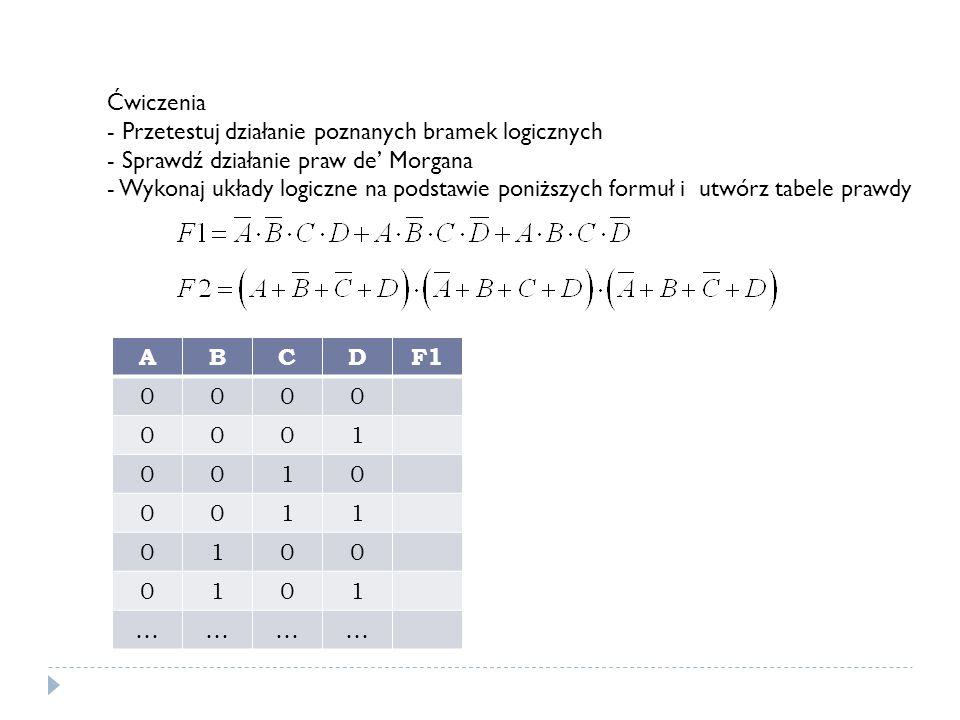 Ćwiczenia - Przetestuj działanie poznanych bramek logicznych - Sprawdź działanie praw de Morgana - Wykonaj układy logiczne na podstawie poniższych formuł i utwórz tabele prawdy ABCDF1 0000 0001 0010 0011 0100 0101 …………