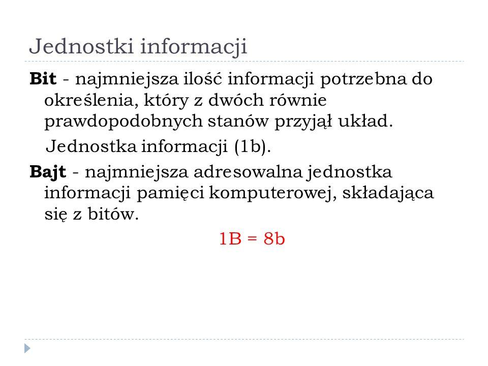 Jednostki informacji Bit - najmniejsza ilość informacji potrzebna do określenia, który z dwóch równie prawdopodobnych stanów przyjął układ.