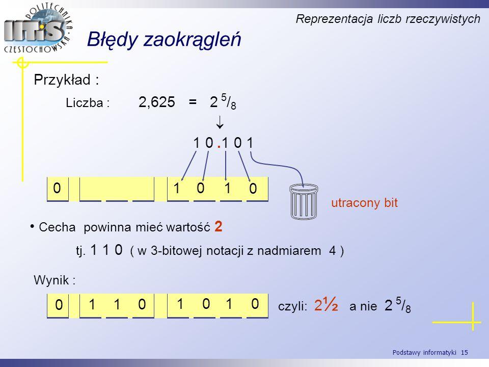 Podstawy informatyki 15 Błędy zaokrągleń Reprezentacja liczb rzeczywistych Liczba : 2,625 = 2 5 / 8 Cecha powinna mieć wartość 2 tj. 1 1 0 ( w 3-bitow