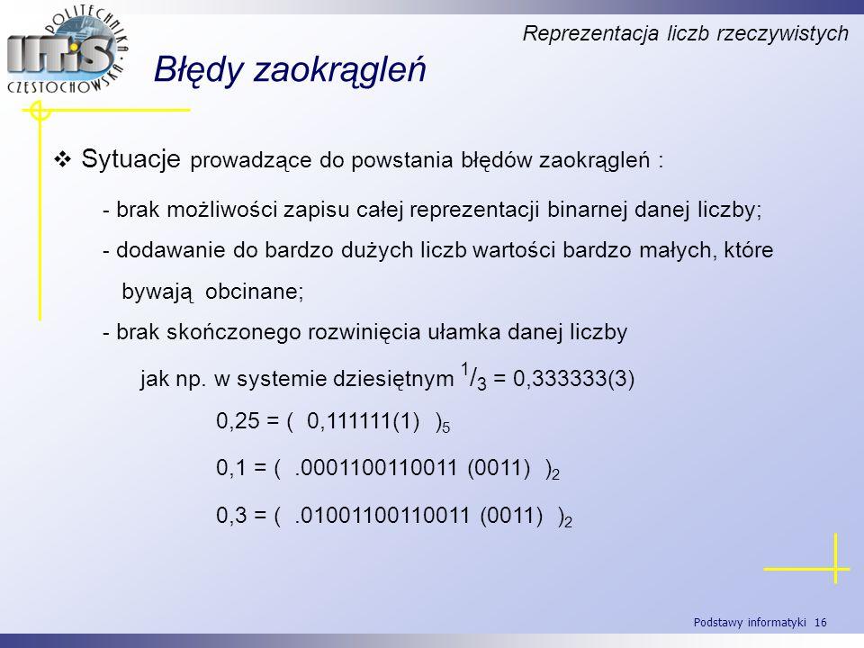 Podstawy informatyki 16 Błędy zaokrągleń Reprezentacja liczb rzeczywistych Sytuacje prowadzące do powstania błędów zaokrągleń : - brak możliwości zapi