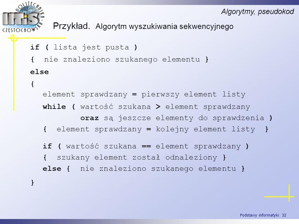 Podstawy informatyki 32 Przykład. Algorytm wyszukiwania sekwencyjnego Algorytmy, pseudokod element sprawdzany = pierwszy element listy while ( wartość