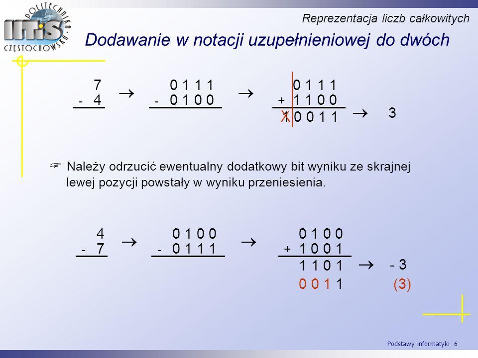 Podstawy informatyki 6 Dodawanie w notacji uzupełnieniowej do dwóch Reprezentacja liczb całkowitych 7 - 4 0 1 1 1 - 0 1 0 0 0 1 1 1 + 1 1 0 0 1 0 0 1