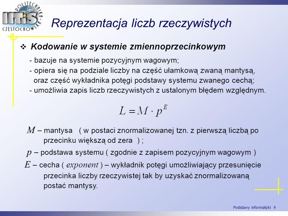 Podstawy informatyki 9 Reprezentacja liczb rzeczywistych Kodowanie w systemie zmiennoprzecinkowym - bazuje na systemie pozycyjnym wagowym; - opiera si