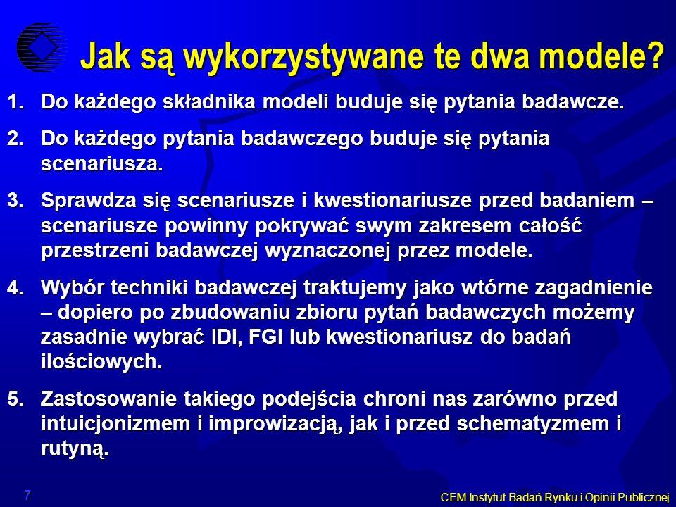 CEM Instytut Badań Rynku i Opinii Publicznej 7 Jak są wykorzystywane te dwa modele? 1.Do każdego składnika modeli buduje się pytania badawcze. 2.Do ka