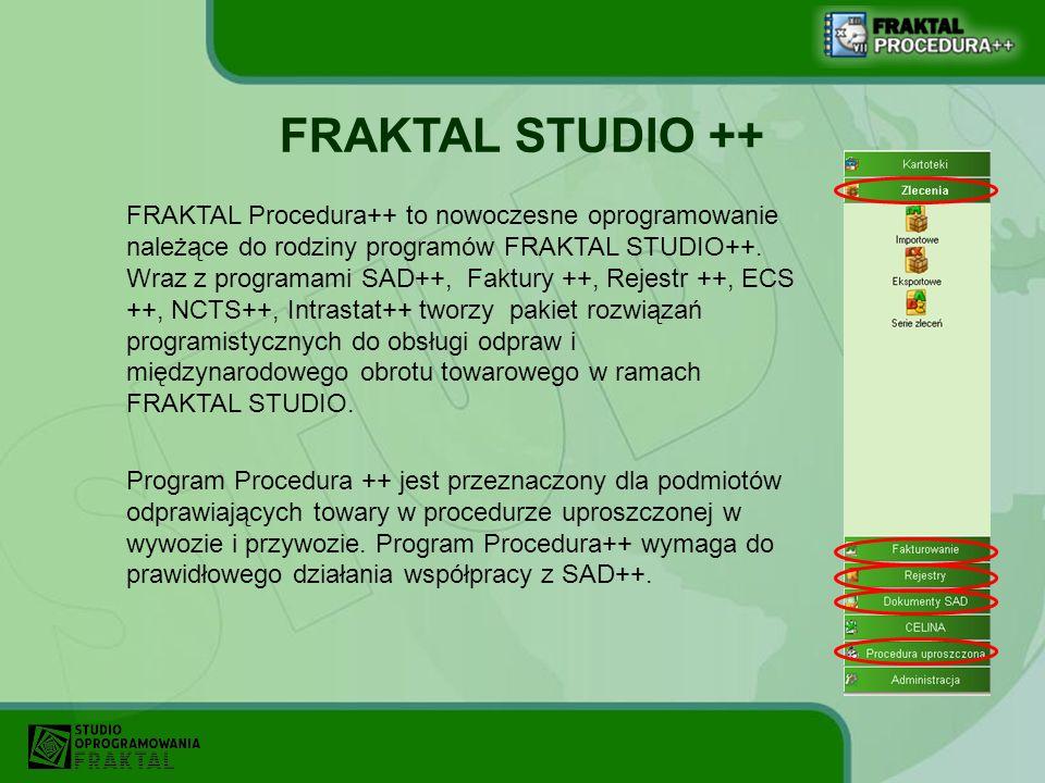 FRAKTAL Procedura++ to nowoczesne oprogramowanie należące do rodziny programów FRAKTAL STUDIO++. Wraz z programami SAD++, Faktury ++, Rejestr ++, ECS