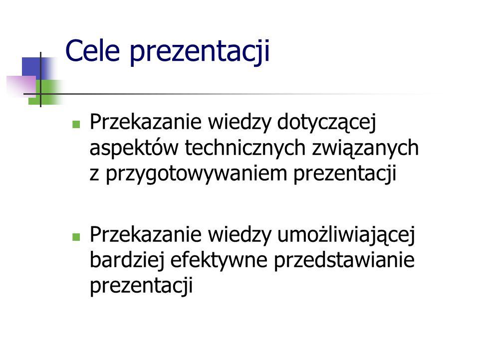 Terminologia Przy prezentacjach zawierających dużo treści merytorycznych przedstaw wykaz terminów z definicjami Zwróć uwagę na grupę dla której jest przygotowywana prezentacja