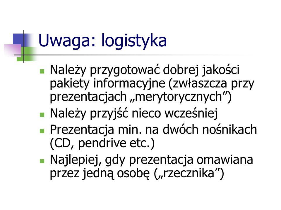 Uwaga: logistyka Należy przygotować dobrej jakości pakiety informacyjne (zwłaszcza przy prezentacjach merytorycznych) Należy przyjść nieco wcześniej P
