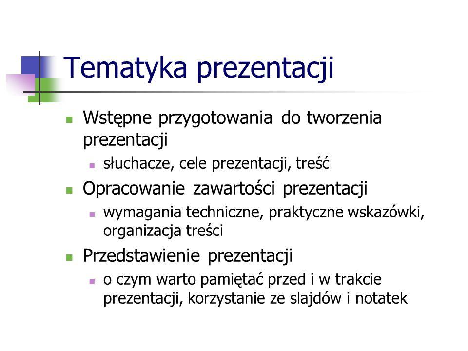 Tematyka prezentacji Wstępne przygotowania do tworzenia prezentacji słuchacze, cele prezentacji, treść Opracowanie zawartości prezentacji wymagania te