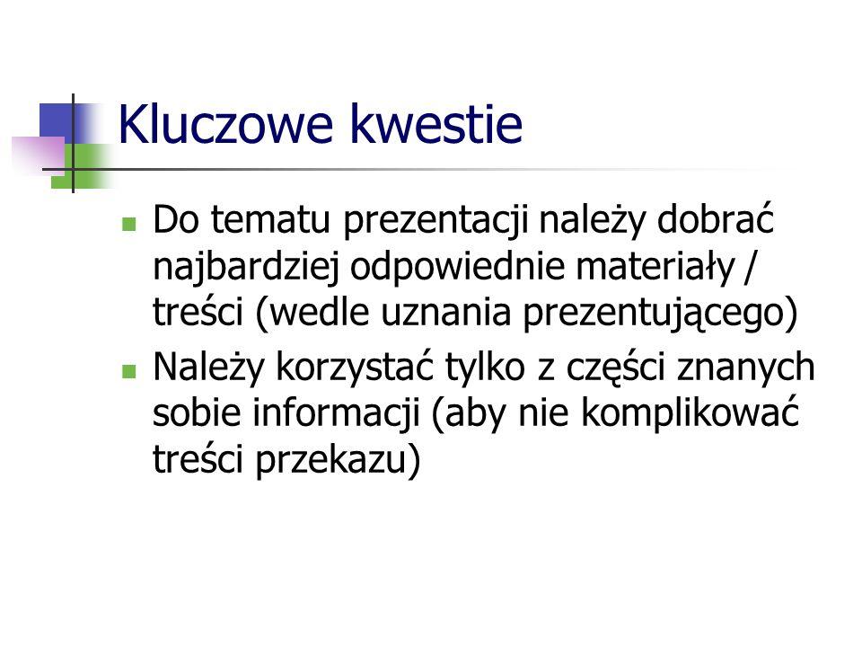 Przebieg prac nad prezentacją Wstępne przygotowania Opracowanie zawartości prezentacji Przedstawienie prezentacji (+ ocena)