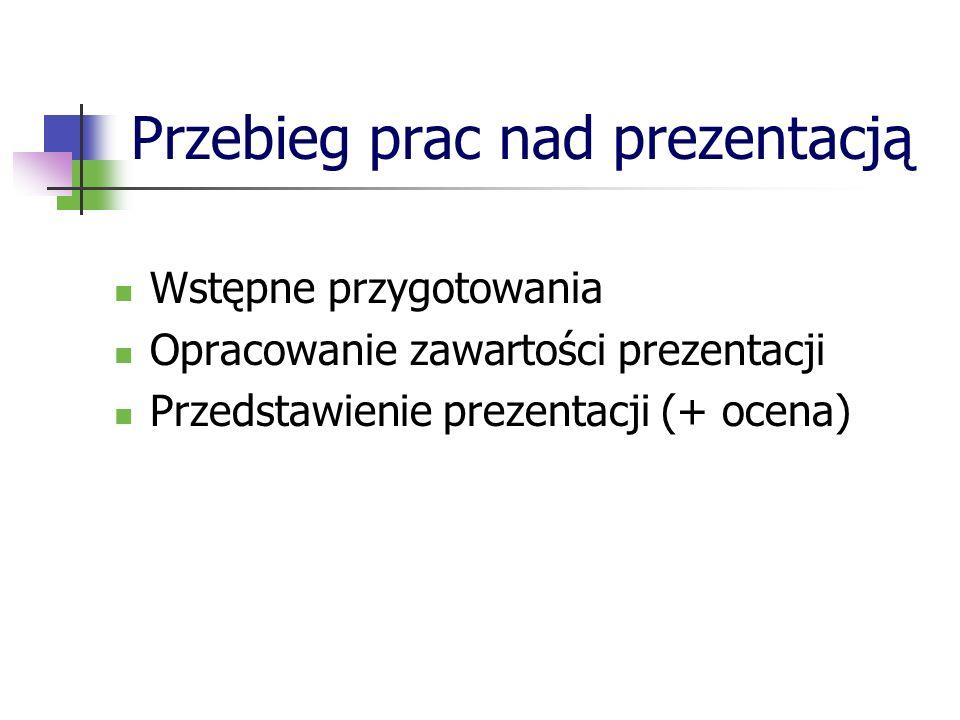 Układ slajdów Slajd tytułowy Informacja o autorze / autorach Cel prezentacji Tematyka Terminologia (gdy wymagane) Omówienie kluczowych zagadnień (slajdy merytoryczne) Bibliografia Podziękowanie
