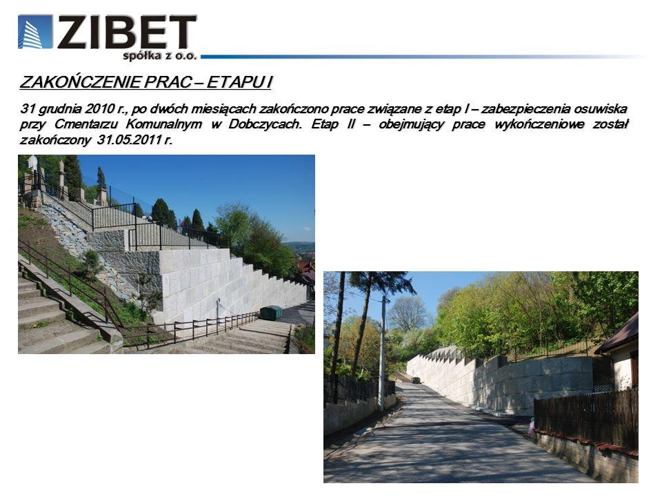 31 grudnia 2010 r., po dwóch miesiącach zakończono prace związane z etap I – zabezpieczenia osuwiska przy Cmentarzu Komunalnym w Dobczycach. Etap II –