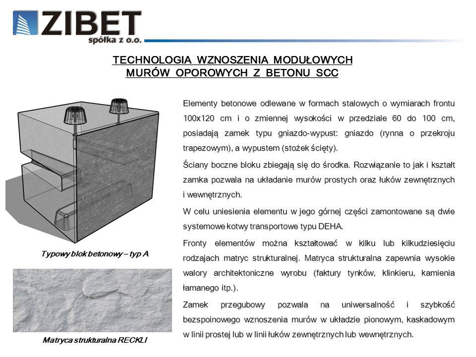 TECHNOLOGIA WZNOSZENIA MODUŁOWYCH MURÓW OPOROWYCH Z BETONU SCC Elementy betonowe odlewane w formach stalowych o wymiarach frontu 100x120 cm i o zmienn