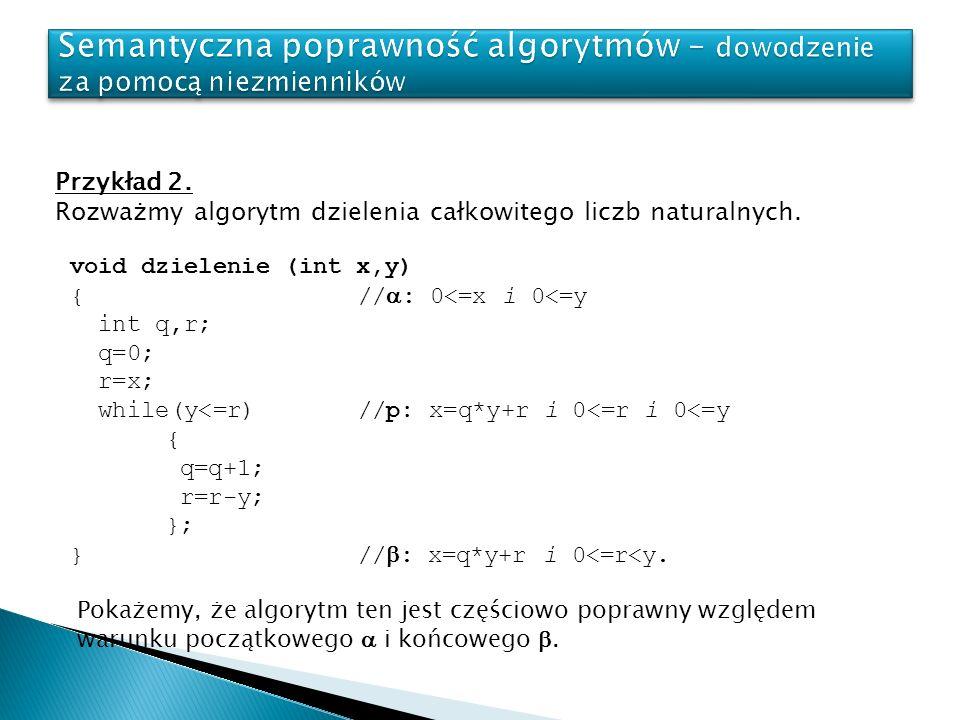 Przykład 2.Rozważmy algorytm dzielenia całkowitego liczb naturalnych.