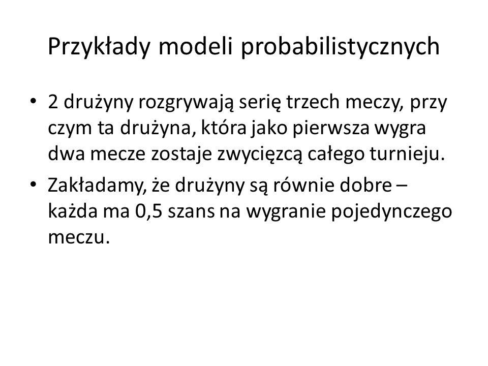 Przykłady modeli probabilistycznych 2 drużyny rozgrywają serię trzech meczy, przy czym ta drużyna, która jako pierwsza wygra dwa mecze zostaje zwycięz