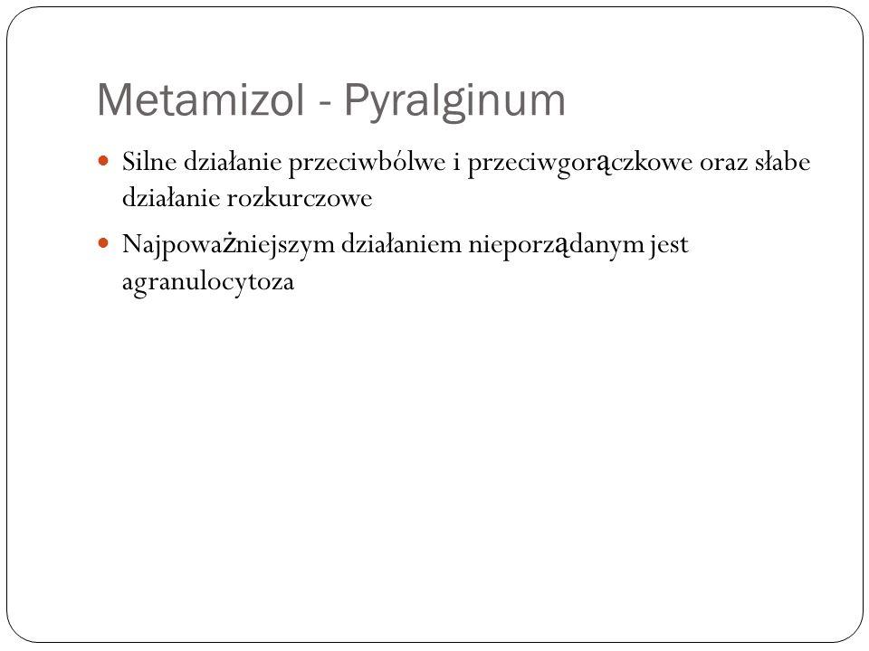 Metamizol - Pyralginum Silne działanie przeciwbólwe i przeciwgor ą czkowe oraz słabe działanie rozkurczowe Najpowa ż niejszym działaniem nieporz ą dan