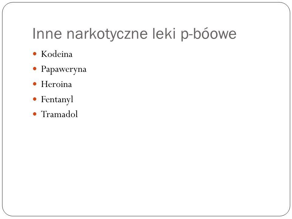 Inne narkotyczne leki p-bóowe Kodeina Papaweryna Heroina Fentanyl Tramadol