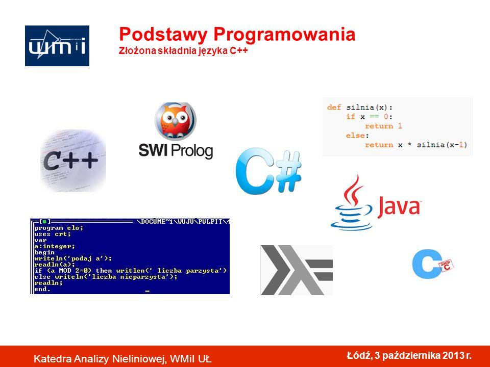 Łódź, 3 października 2013 r. Katedra Analizy Nieliniowej, WMiI UŁ Podstawy Programowania Złożona składnia języka C++