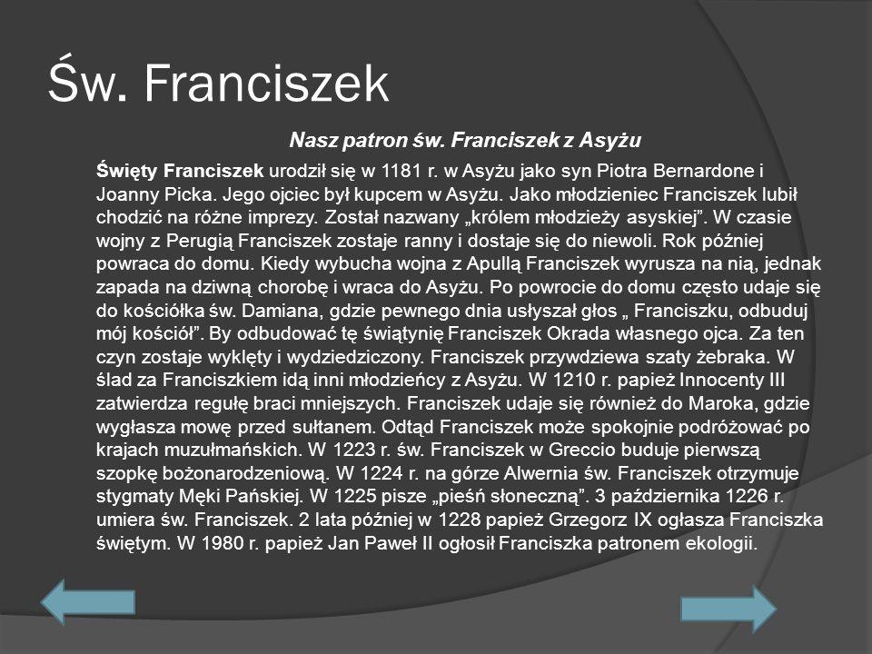 Św.Franciszek w naszym gimnazjum. 1 czerwca 2004 r.