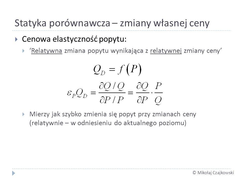 © Mikołaj Czajkowski Statyka porównawcza – zmiany własnej ceny Cenowa elastyczność popytu: Relatywna zmiana popytu wynikająca z relatywnej zmiany ceny