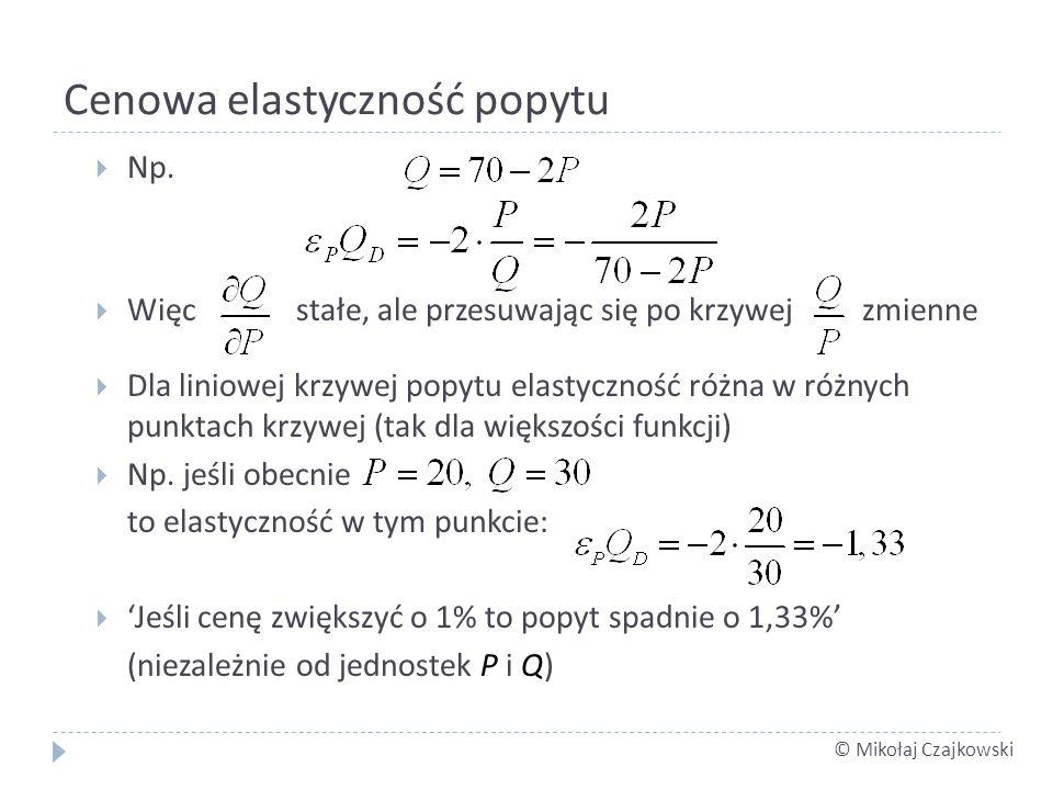 © Mikołaj Czajkowski Cenowa elastyczność popytu Np. Więc stałe, ale przesuwając się po krzywej zmienne Dla liniowej krzywej popytu elastyczność różna