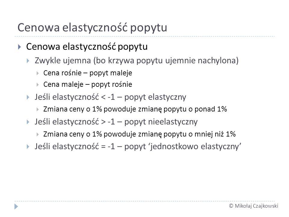 © Mikołaj Czajkowski Cenowa elastyczność popytu Zwykle ujemna (bo krzywa popytu ujemnie nachylona) Cena rośnie – popyt maleje Cena maleje – popyt rośn