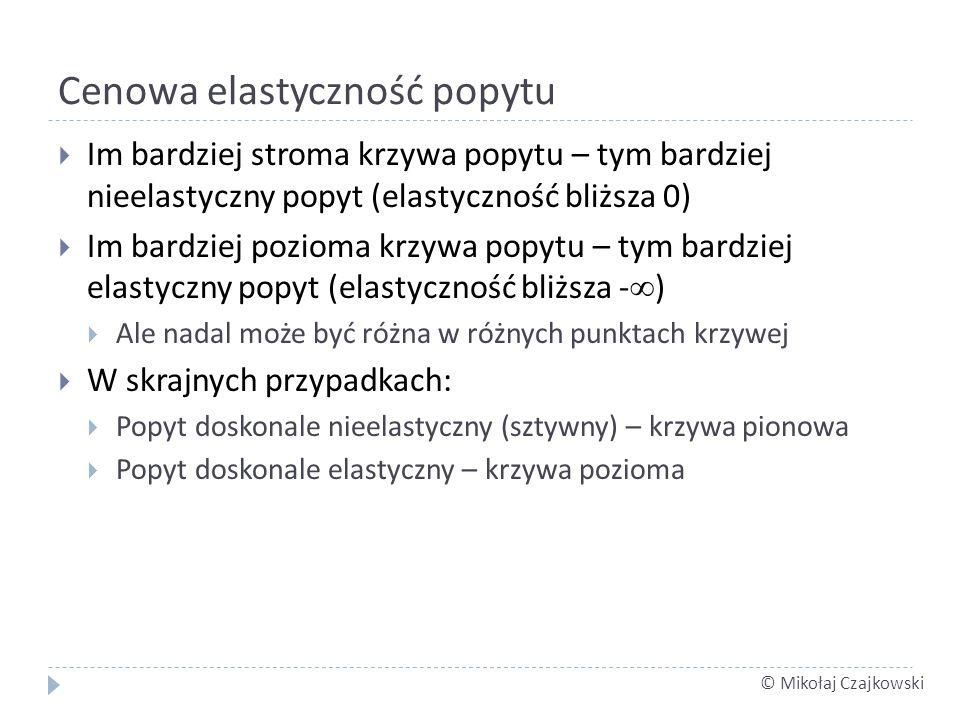 © Mikołaj Czajkowski Cenowa elastyczność popytu Im bardziej stroma krzywa popytu – tym bardziej nieelastyczny popyt (elastyczność bliższa 0) Im bardzi