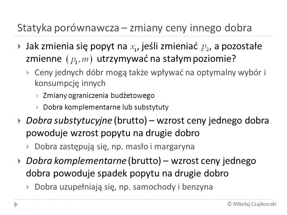 © Mikołaj Czajkowski Statyka porównawcza – zmiany ceny innego dobra Jak zmienia się popyt na, jeśli zmieniać, a pozostałe zmienne utrzymywać na stałym poziomie.