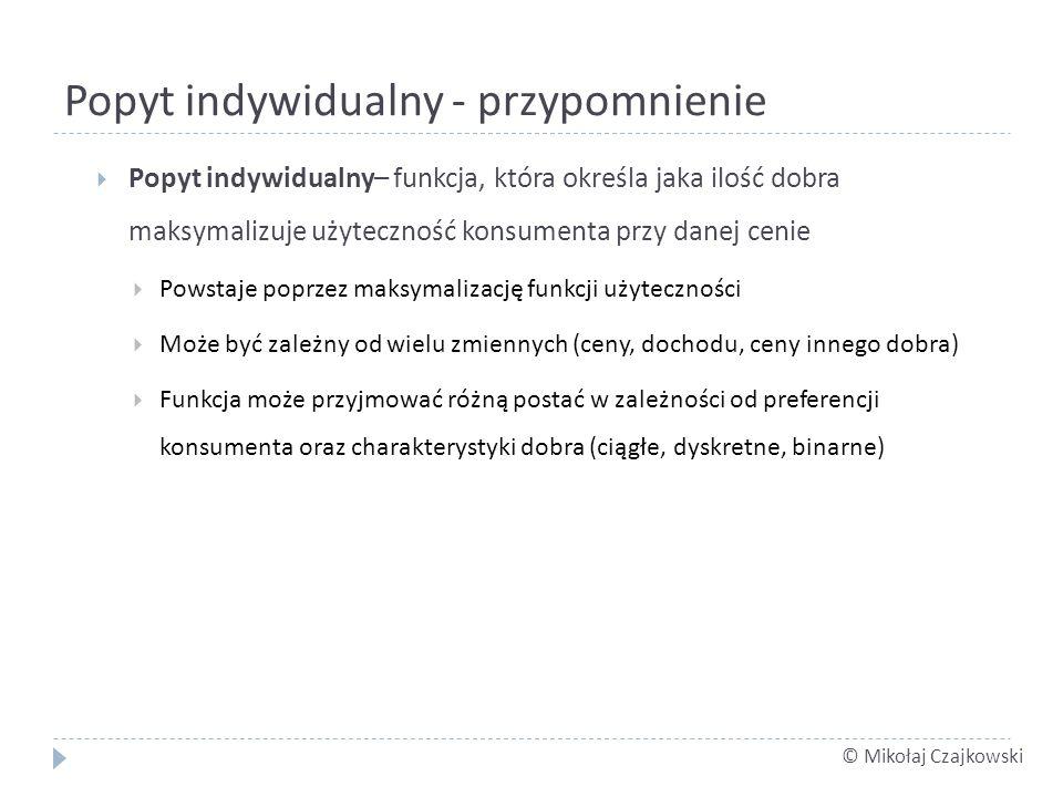 © Mikołaj Czajkowski Popyt indywidualny - przypomnienie Popyt indywidualny– funkcja, która określa jaka ilość dobra maksymalizuje użyteczność konsumen