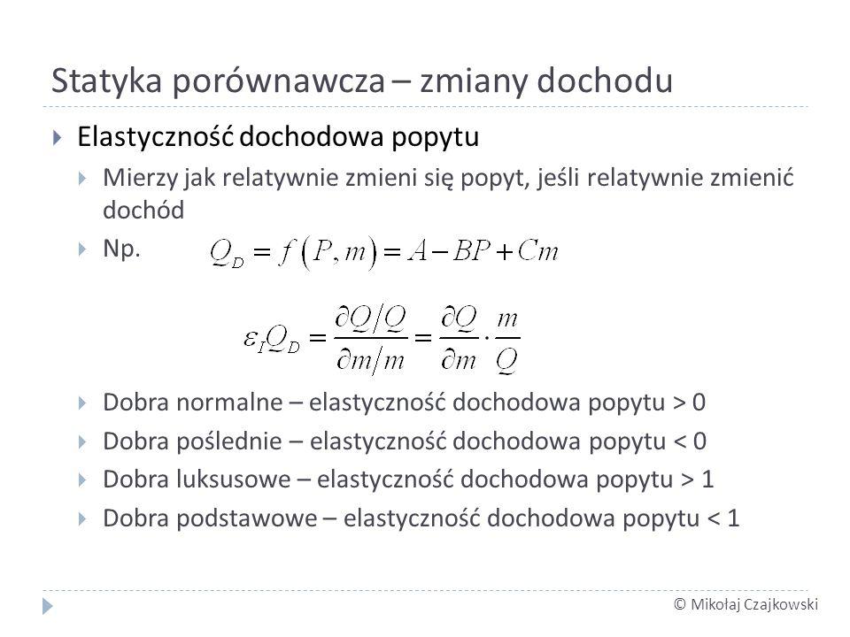 © Mikołaj Czajkowski Statyka porównawcza – zmiany dochodu Elastyczność dochodowa popytu Mierzy jak relatywnie zmieni się popyt, jeśli relatywnie zmienić dochód Np.