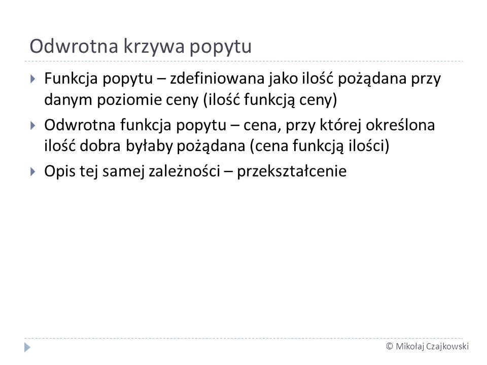 © Mikołaj Czajkowski Odwrotna krzywa popytu Funkcja popytu – zdefiniowana jako ilość pożądana przy danym poziomie ceny (ilość funkcją ceny) Odwrotna f