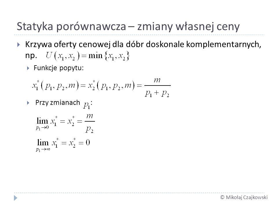 © Mikołaj Czajkowski Statyka porównawcza – zmiany własnej ceny Krzywa oferty cenowej dla dóbr doskonale komplementarnych, np. Funkcje popytu: Przy zmi