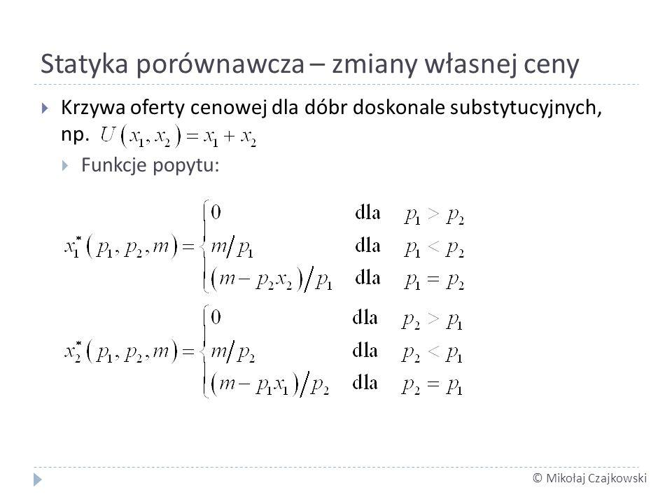 © Mikołaj Czajkowski Statyka porównawcza – zmiany własnej ceny Krzywa oferty cenowej dla dóbr doskonale substytucyjnych, np. Funkcje popytu:
