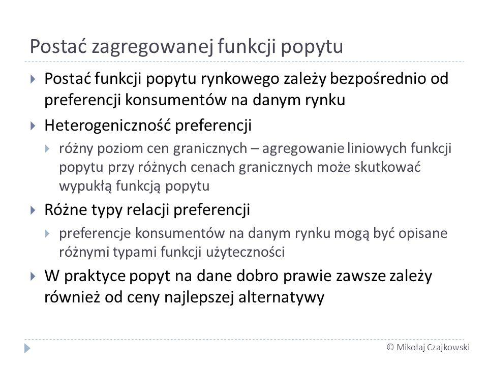 © Mikołaj Czajkowski Postać zagregowanej funkcji popytu Postać funkcji popytu rynkowego zależy bezpośrednio od preferencji konsumentów na danym rynku