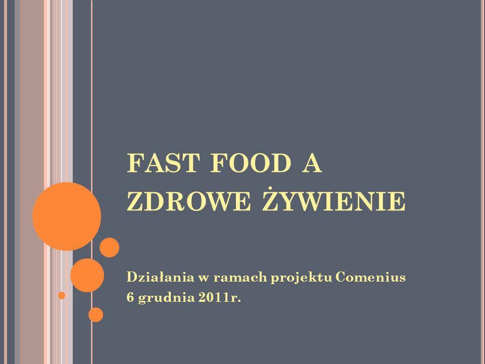 FAST FOOD A ZDROWE ŻYWIENIE Działania w ramach projektu Comenius 6 grudnia 2011r.