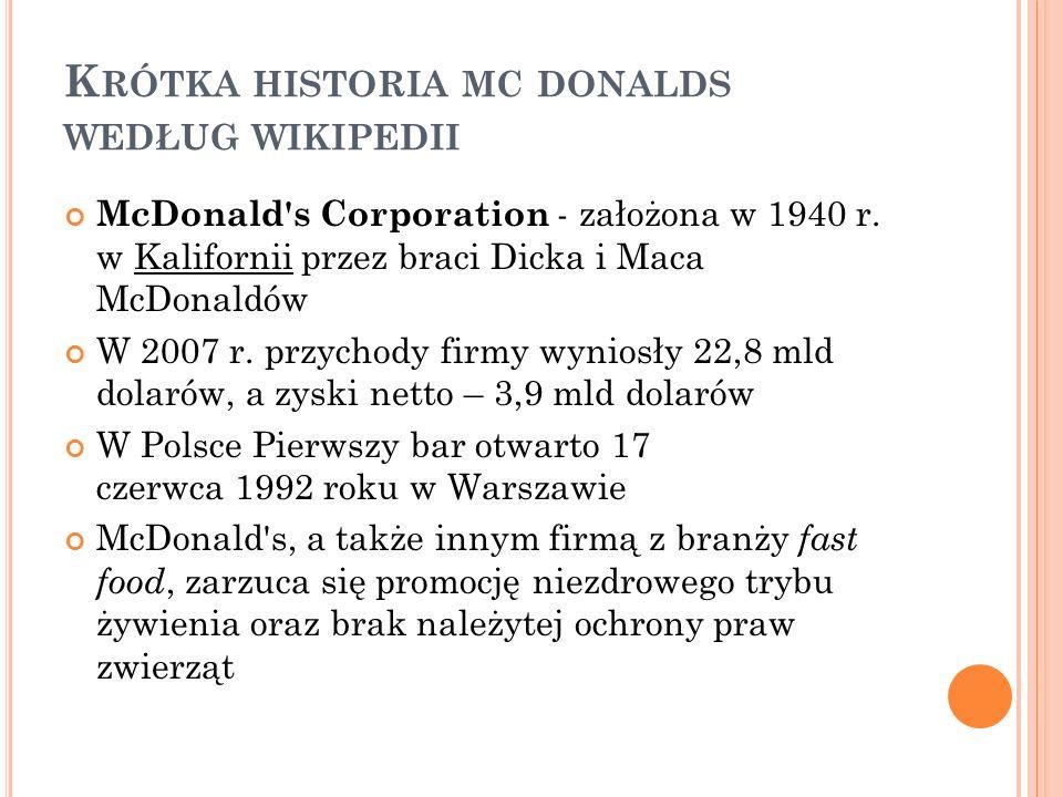 K RÓTKA HISTORIA MC DONALDS WEDŁUG WIKIPEDII McDonald s Corporation - założona w 1940 r.