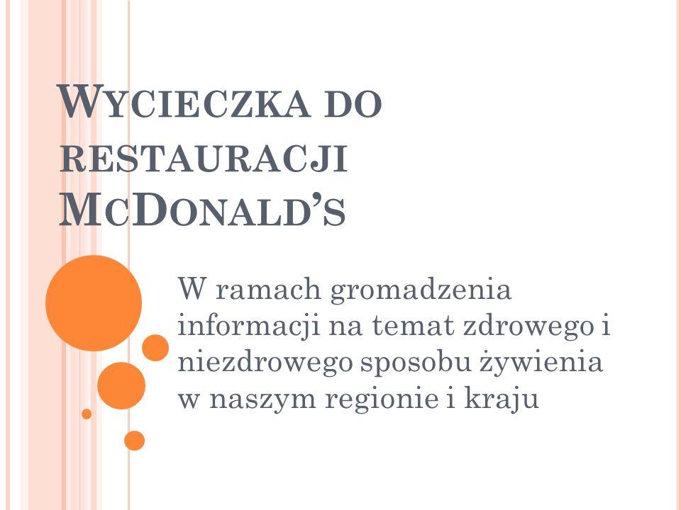 W YCIECZKA DO RESTAURACJI M C D ONALD S W ramach gromadzenia informacji na temat zdrowego i niezdrowego sposobu żywienia w naszym regionie i kraju