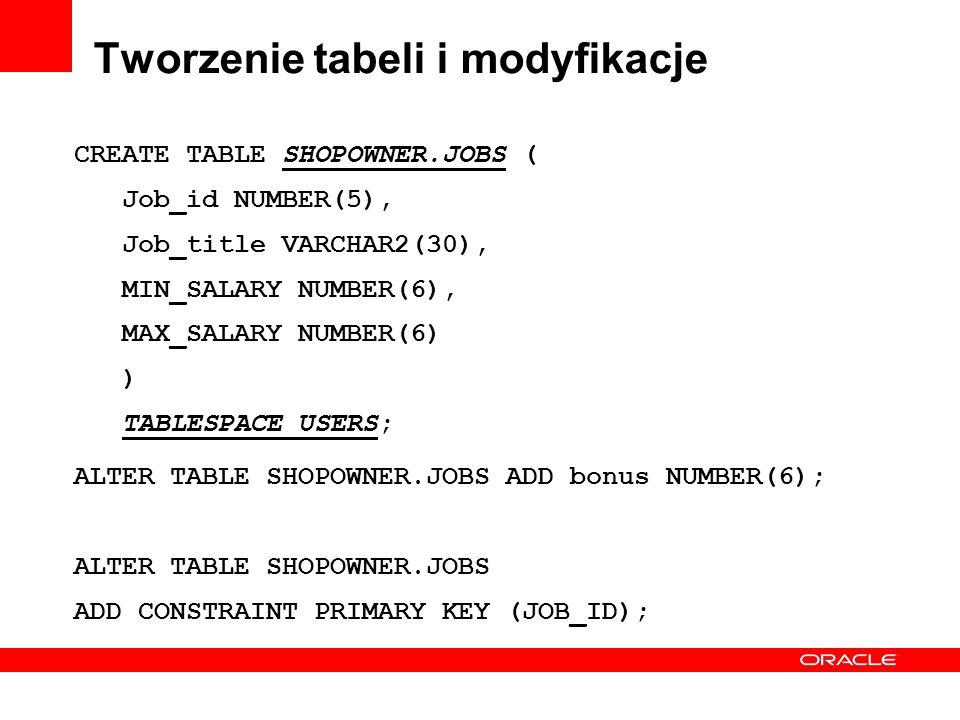 Tworzenie tabeli i modyfikacje CREATE TABLE SHOPOWNER.JOBS ( Job_id NUMBER(5), Job_title VARCHAR2(30), MIN_SALARY NUMBER(6), MAX_SALARY NUMBER(6) ) TA