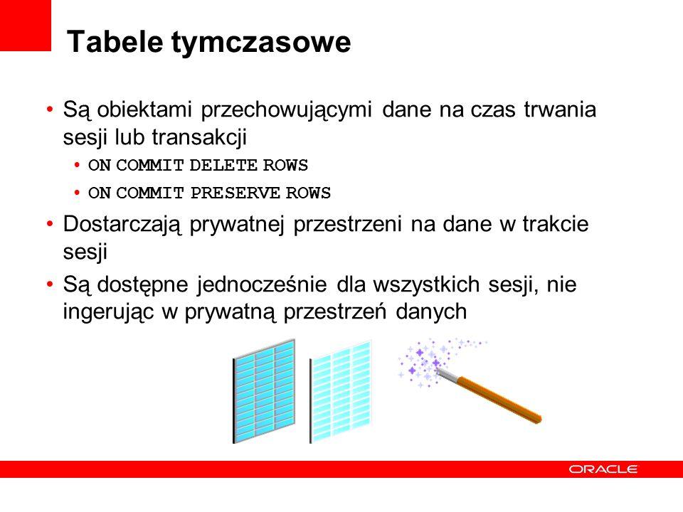 Tabele tymczasowe Są obiektami przechowującymi dane na czas trwania sesji lub transakcji ON COMMIT DELETE ROWS ON COMMIT PRESERVE ROWS Dostarczają pry
