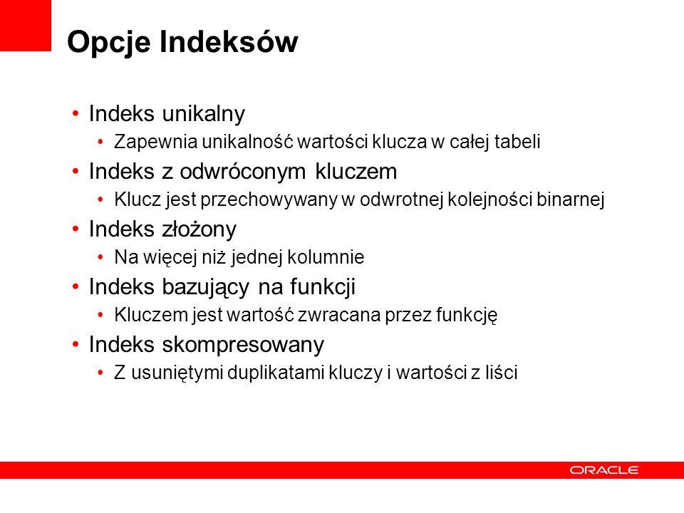Opcje Indeksów Indeks unikalny Zapewnia unikalność wartości klucza w całej tabeli Indeks z odwróconym kluczem Klucz jest przechowywany w odwrotnej kol