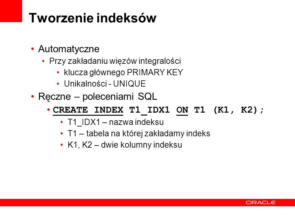 Tworzenie indeksów Automatyczne Przy zakładaniu więzów integralości klucza głównego PRIMARY KEY Unikalności - UNIQUE Ręczne – poleceniami SQL CREATE I