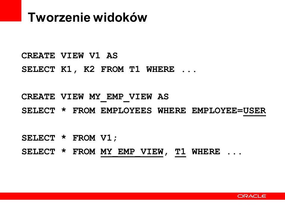 Tworzenie widoków CREATE VIEW V1 AS SELECT K1, K2 FROM T1 WHERE... CREATE VIEW MY_EMP_VIEW AS SELECT * FROM EMPLOYEES WHERE EMPLOYEE=USER SELECT * FRO