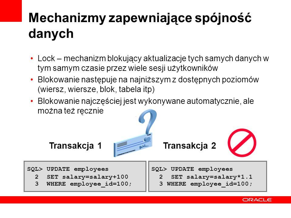 Mechanizmy zapewniające spójność danych Lock – mechanizm blokujący aktualizacje tych samych danych w tym samym czasie przez wiele sesji użytkowników B