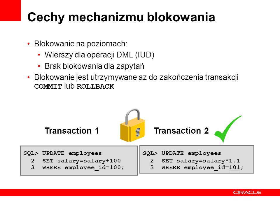 Cechy mechanizmu blokowania Blokowanie na poziomach: Wierszy dla operacji DML (IUD) Brak blokowania dla zapytań Blokowanie jest utrzymywane aż do zako