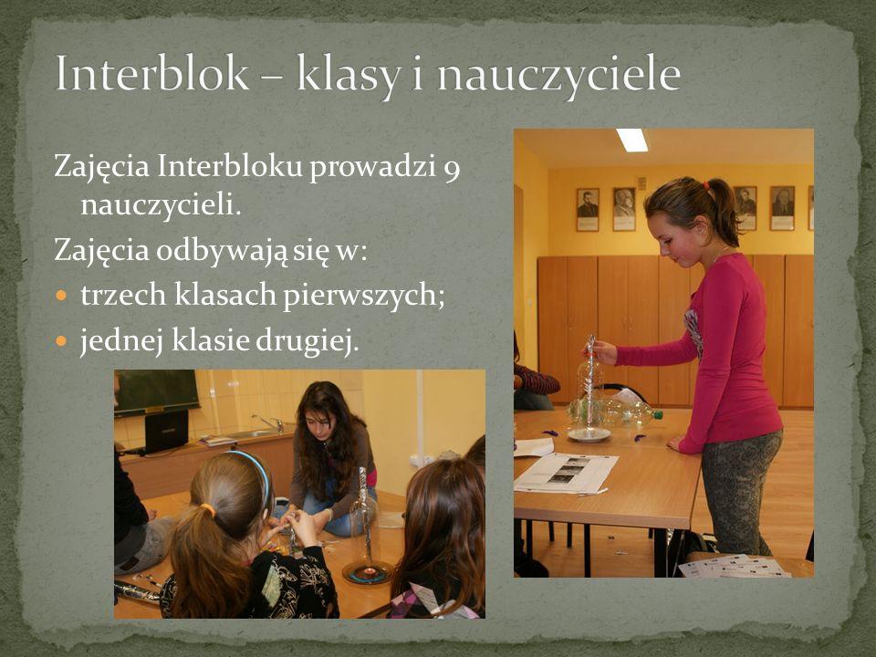 Zajęcia Interbloku prowadzi 9 nauczycieli.